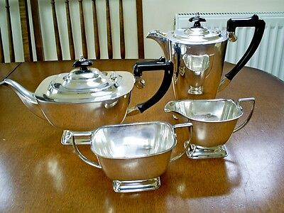Vintage Art Deco English Silver Plate 4 Piece Tea & Coffee Set 1534/j.e.bushell