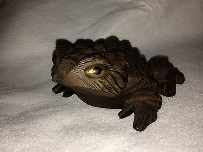 Hand Crafted Rare Toad Frog Otagiri Cryptomeria Wood
