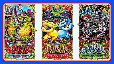 "5"" Grateful Dead 3-way concert tour STICKER. 420 Jerry Bear For guitar or bong."