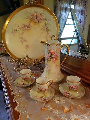 Limoges Hand Painted Rose Chocolate Pot Set, Artist Signed, Ca Early 1900's