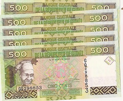 5 notes 2006 Guinee 500 francs unc /combined shipping