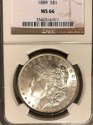 1889 Morgan Silver Dollar NGC MS66 Frosty White
