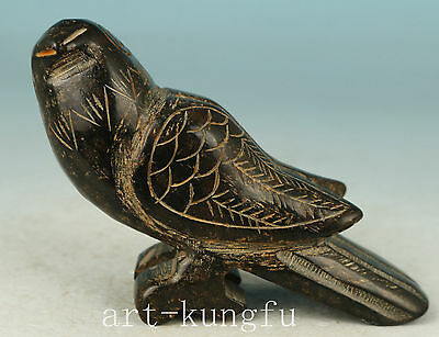 Chinese Old Black Jade Collection Handmade Carved Parrot Statue Figure