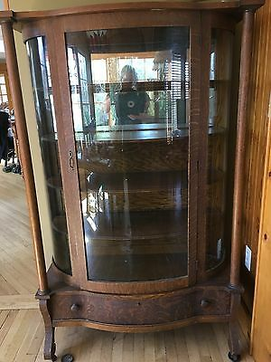 Antique Curved Glass Tiger Oak China Display Cabinet