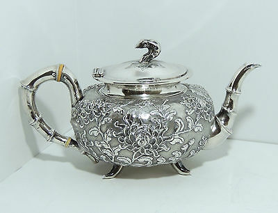 CHINESE EXPORT SILVER REPOUSSE TEAPOT - CHRYSANTHEMUMS - circa 1870