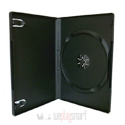 100 X Black DVD & PS2 Replacement Cases Box Standard 14mm (NEW, Hold 1 Disc)
