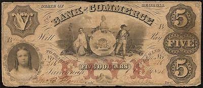 Large 1856 $5 Dollar Bill Georgia Bank Note Obsolete Currency Old Paper Money
