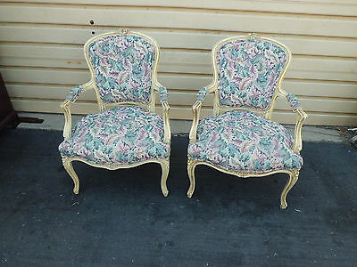 50924 Pair French Country Bergere  Decorator Armchair s Chairs Chair s