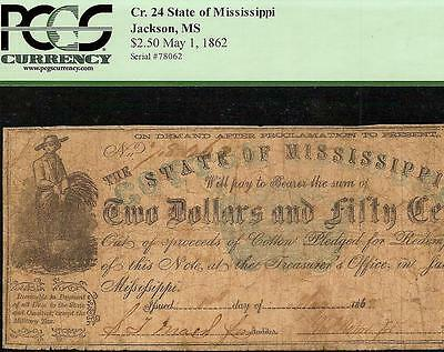 Large 1862 $2.50 Dollar Bill Jackson Mississippi Note Currency Paper Money Pcgs