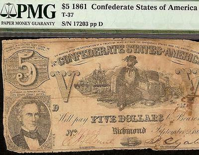 1861 $5 Dollar Bill Confederate States Currency Civil War Note Money T37 Pmg 10