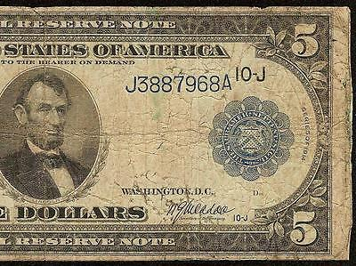 Large 1914 $5 Five Dollar Bill Federal Reserve Note Big Paper Money Us Currency