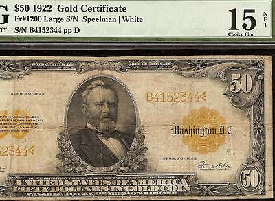 LARGE 1922 $50 DOLLAR BILL GOLD CERTIFICATE COIN NOTE CURRENCY Fr 1200 PMG 15