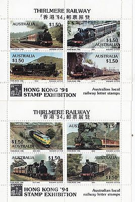 Train stamps Australia 1986 THIRLMERE railways pair of mini sheets Hong Kong 94