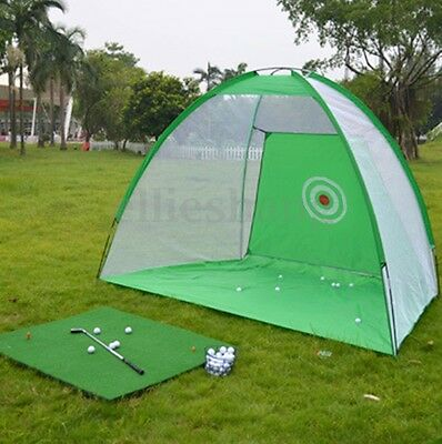 Golf Hitting Cage Practice Net Trainer + Training Aid Mat + Driver Iron Foldable