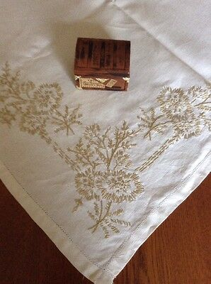 Antique Vintage 1920's Linen Table Cloth Hand Made And Embroidered Flax Flowers