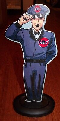 "GULF Gas Oil Service Station Attendant Metal Sign 13"" Tall - Open Roads"