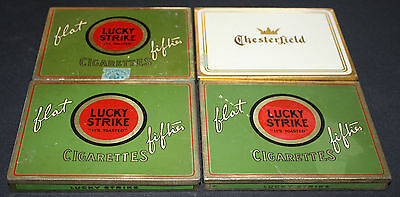 Lot Of Four Vintage Cigarette Tins, 3 Lucky Strike Flat Fifties, 1 Chesterfield