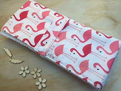 Baby Change Mat Clutch Handmade, cotton and terry toweling Pink Flamingo Print