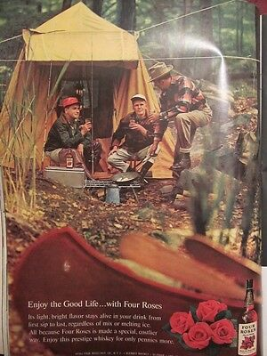 Vintage Ad 1961 Four Roses Whiskey At Camp Print Art Ad