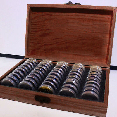 HOT *Wood Coins Display Storage Round Box Case FOR Slab Certified Coin &Capsules