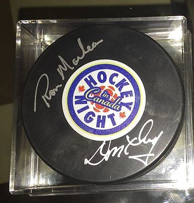 Don Cherry and Ron MacLean AUTOGRAPHED Hockey Night in Canada Puck HNIC Signed