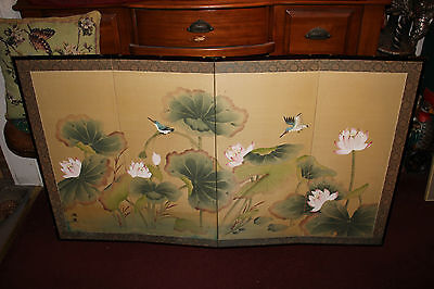 Vintage Chinese Japanese Hand Painted 4 Panel Room Wall Divider-Birds & Flower