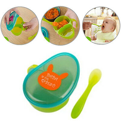 Portable  1 Set Cartoon Spoon Storage Containers Food  Lovely Lunch Boxes Baby