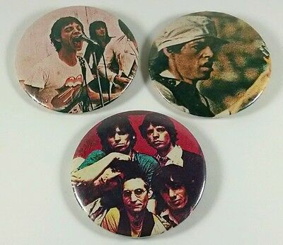 3 Lot Rare Vintage Late 1970's to Early 80's Buttons Rolling Stones Rock Concert