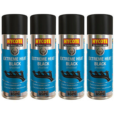 Hycote Very High Temperature Black 4 Spray Cans Paint 400ml