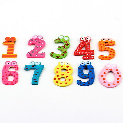 X mas Gift Set 10 Number Wooden Fridge Magnet Learn Cute Kid Baby Toy FT