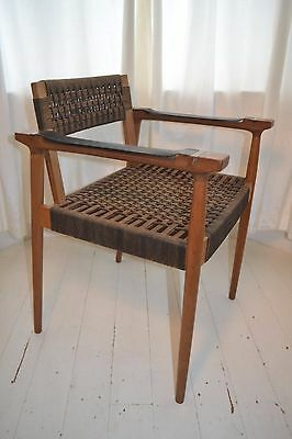 Stunning Vintage String Leather & Brass Arm Chair