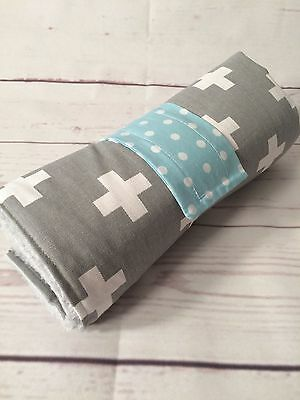 Nappy wallet/ diaper clutch & large waterproof change mat set grey swiss cross