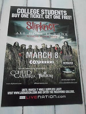 """SLIPKNOT Concert Poster ALL HOPE IS GONE San Diego COX ARENA 11""""x17"""""""