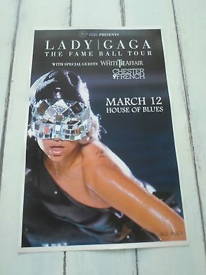 """LADY GAGA Concert Poster THE FAME BALL TOUR San Diego HOUSE OF BLUES 11""""x17"""""""