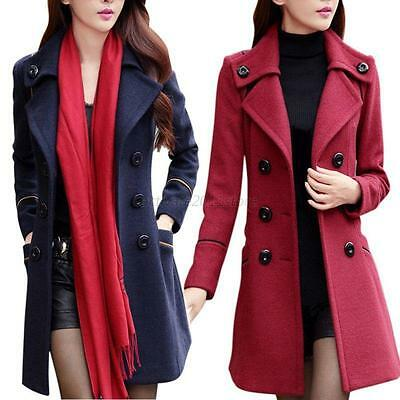 Women Double Breasted Wool Trench Coat Slim Long Jacket Warm Overcoat Outwear US