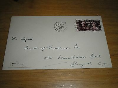 1937 GB Stamps CORONATION 1 1/2d  PLAIN First Day Cover GLASGOW  Cancel
