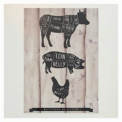 Butchers Selection Cow Pig Chicken Kitchen Rustic Wall Sign Plaque Farm Country