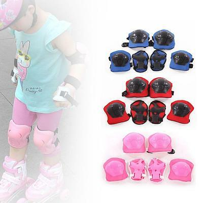 Kids Children 6pcs Roller Skating Knee Elbow Wrist Protective Pad Gear gift  *&2