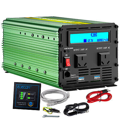 EDECOA 2000W 4000W 12V to 240V Power Inverter Camping Boat Car Caravan LCD USB