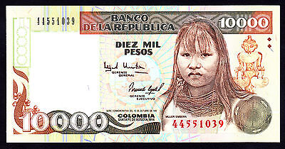 Colombia 10000 10,000  Pesos Oro 1994 UNC Note P. 437A Beauty