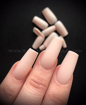 Ballerina False NAIL 15 Sets 360 Pieces Full Cover peach nude matte