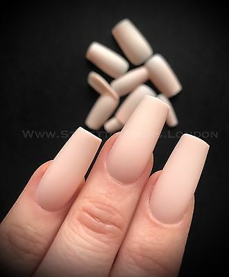 COFFIN False NAIL 15 Sets 360 Pieces Full Cover peach nude matte