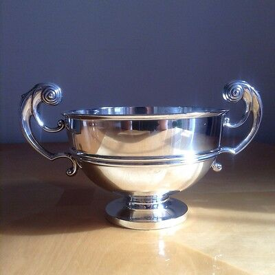 ANTIQUE SOLID SILVER ROSE/FRUIT BOWL, WALKER & HALL 1907, VERY HEAVY 607 grams,