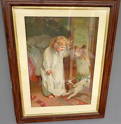 Antique Victorian Large Pears Type Framed Print Girl in Nightdress & Dogs c 1880