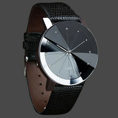 Men Stunning Round Dial Quartz Analog Leather Bracelet Wrist Watch New