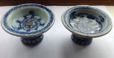 Two Chinese/oriental Blue And White Porcelain Tazzas/oil Lamps?