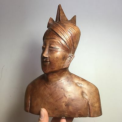 Vintage Hand Carved Wooden Bust. Indian / Asian / Oriental Good Quality Ornament