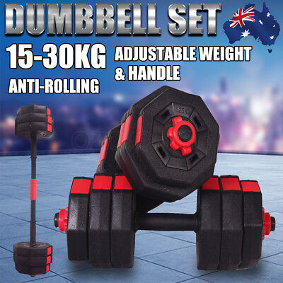 Adjustable Dumbbells Set Barbell Workout Home Gym Fitness Weights 15/20/30KG New