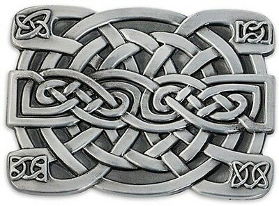 Celtic Irish Knot Belt Buckle Square Thick Rugged Antiqued Cast Metal Gaelic
