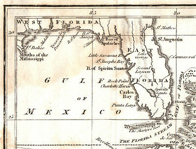 Antique 1814 FLORIDA Puerto Rico CUBA West Indies MAP ETCHING Engraving by TEGG